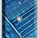 DENIM BLUE VINTAGE JEANS POCKET STITCHES PHONE JACK TELEPHONE WALL PLATE COVER