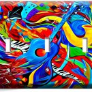 COLORFUL GUITAR SAXOFONE JAZ MUSIC ABSTRACT TRIPLE LIGHT SWITCH WALL PLATE COVER