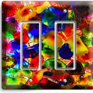 COLORFUL MURANO GLASS DOUBLE GFI LIGHT SWITCH WALL PLATE COVER LIVING ROOM DECOR