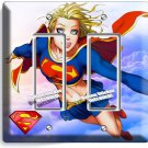 SUPERGIRL COMICS DOUBLE GFCI LIGHT SWITCH WALL PLATE COVER GIRLS BEDROOM DECOR