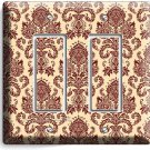 VICTORIAN PATTERN DOUBLE GFCI LIGHT SWITCH WALL PLATE COVER LIVING DINING ROOM