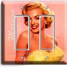MARILYN MONROE SMILE GOLD DRESS DOUBLE GFCI DECORA LIGHT SWITCH WALL PLATE COVER