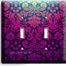 DAMASK PURPLE LUXURY ORNAMENT DOUBLE LIGHT SWITCH WALL PLATE COVER MODERN DECOR