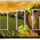 TUSCAN VINEYARD RUSTIC WINE BARREL GRAPES TRIPLE DECOA LIGHT SWITCH PLATE COVER