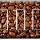 FRENCH ROAST COFFEE BEANS TRIPLE GFCI LIGHT SWITCH WALL PLATE COVER HOME DECOR