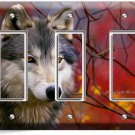 GRAY WOLF IN WOODS FOREST TRIPLE GFCI LIGHT SWITCH WALL PLATE COVER HOME DECOR