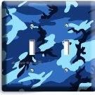 BLUE NAVY MILITARY CAMO CAMOUFLAGE DOUBLE LIGHT SWITCH WALL PLATE MAN CAVE DECO