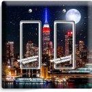 MANHATTAN NIGHT SKYLINE STARS MOON DOUBLE GFI LIGHT SWITCH WALL PLATE ROOM DECOR