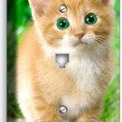 CUTE GREEN EYES KITTEN KITTY CAT PHONE TELEPHONE WALL PLATE COVER NY HOME DECOR