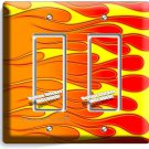 HOT ROD RED YELLOW ORANGE FLAMES DOUBLE GFI LIGHT SWITCH WALL PLATE COVER GARAGE