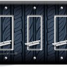 SPORTS CAR RACING TIRE TRIPLE GFCI LIGHT SWITCH WALL PLATE COVER MAN CAVE GARAGE