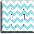 CHEVRON LITE BLUE PASTEL LINES DOUBLE LIGHT SWITCH WALL PLATE COVER MODERN DECOR