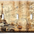 PARIS EIFFEL TOWER VITAGE POSTER TRIPLE LIGHT SWITCH WALL PLATE COVER HOME DECOR