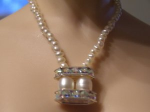 Double pearl crystal bar necklace