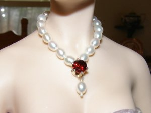 Genuine Garnet & Pearl Drop Necklace Set