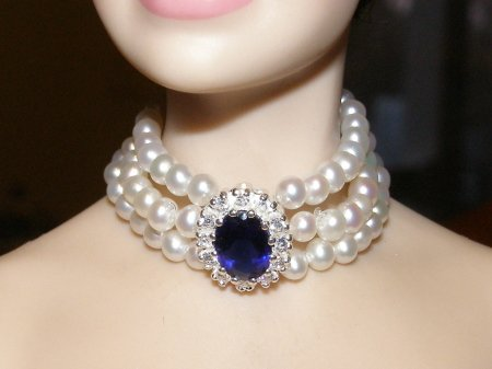 Princess Diana Triple Pearl Sapphire Necklace Set
