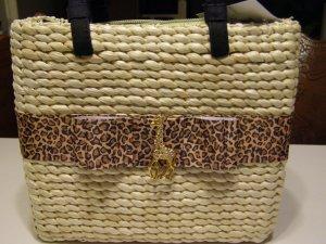 Straw Handbag, Rhinestone Giraffe