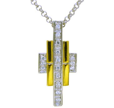 silver pendant 18k gold plated with natural white Topaz