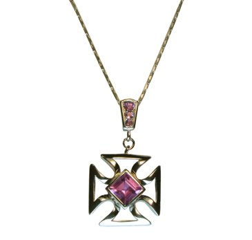 silver pendant 18k gold plated natural Amethyst