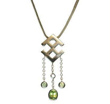 silver Pendant 18k gold plated with Natural Peridots
