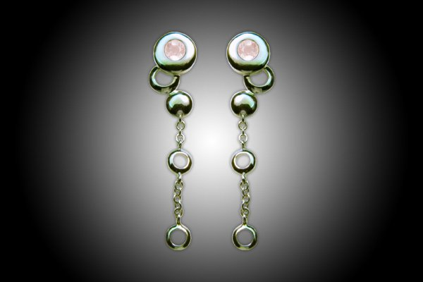 Talisman Earrings in silver 18k gold plated with pink Quartz