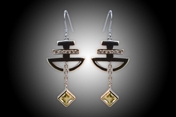 Egyptian silver earring 18k gold plated with Natural white Toapz and lemon quartz