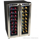 EdgeStar 32 Bottle Dual Zone Wine Cooler with Stainless Steel Trimmed French Doors
