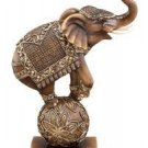 "12"" Trunk Up Circus Elephant On Ball Statue"