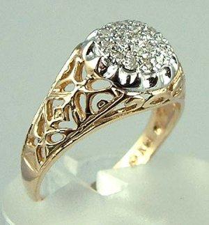 Super Sparkly Diamond Cluster 14k Gold Estate Ring