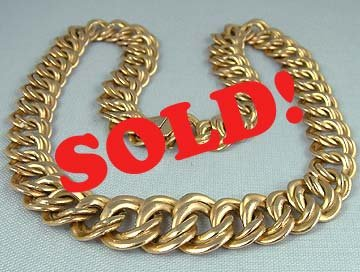 "Luxurious 14K Gold Curb Link Estate Necklace 17"" Italy"