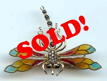Vintage Dragonfly Pin Brooch 14k Gold Enamel Diamond