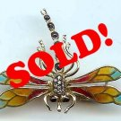 Vintage Dragonfly Pin Brooch 14k Gold Enamel Diamond