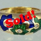 Sensational Enamel Solid 18k Gold Diamond Estate Ring