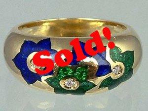 Sensational Enamel Solid 18k Gold Diamond Estate Ring