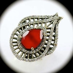 RARE Vintage DIAMOND TOPAZ Ruby Gem SOLID 925 STERLING SILVER RING Size 8 GOLD