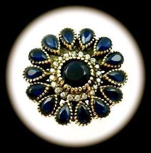 RARE DIAMOND TOPAZ Vintage Sapphire Gem SOLID 925 STERLING SILVER RING Sz 9 Gold