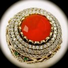 Rare Vintage Round Ruby Emerald Gem Solid 925 Sterling Silver Ring Size 7 Gold