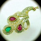 RARE Vintage PEACOCK Ruby Emerald Gem SOLID 925 STERLING SILVER RING Size 7 Gold
