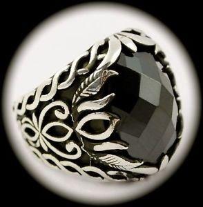 RARE Vintage Estate MAN Hematite Gemstone SOLID 925 STERLING SILVER RING Size 10