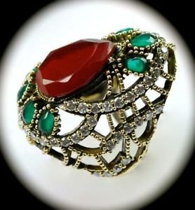 DIAMOND TOPAZ Vintage Ruby Emerald Gems SOLID 925 STERLING SILVER RING 10.5 Gold