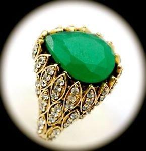 DIAMOND TOPAZ Vintage Estate Emerald Gem SOLID 925 STERLING SILVER RING 11 Gold