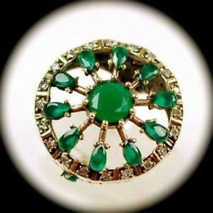 RARE Vintage Estate Emerald Gem/Gemstone SOLID 925 STERLING SILVER RING 7.5 Gold