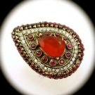 RARE Vintage Estate Ruby/Rubies Gems SOLID 925 STERLING SILVER RING Size 8 Gold
