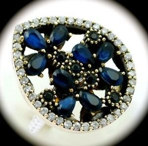 DIAMOND TOPAZ Vintage Sapphire Gemstone SOLID 925 STERLING SILVER RING Sz 9 Gold