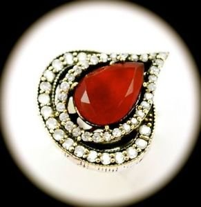RARE Vintage Estate Pear Red Ruby Gem SOLID 925 STERLING SILVER RING Size 7 Gold
