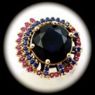 RARE Vintage Estate Ruby Sapphire Gem SOLID 925 STERLING SILVER RING Sz 10 Gold