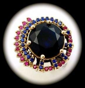 RARE Vintage Estate Ruby Sapphire Gem SOLID 925 STERLING SILVER RING Sz 10 Gold