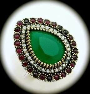 RARE Vintage Estate Ruby Emerald Gems SOLID 925 STERLING SILVER RING Size 9 Gold