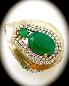 DIAMOND TOPAZ Estate Emerald Gemstone SOLID 925 STERLING SILVER RING Size 8 Gold