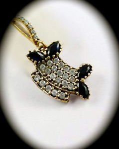 DIAMOND TOPAZ Vintage Sapphire Gem SOLID STERLING SILVER NECKLACE PENDANT Gold